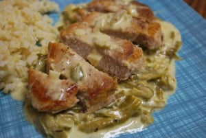 Pork Cutlets with Smothered Parmesan Green Beans