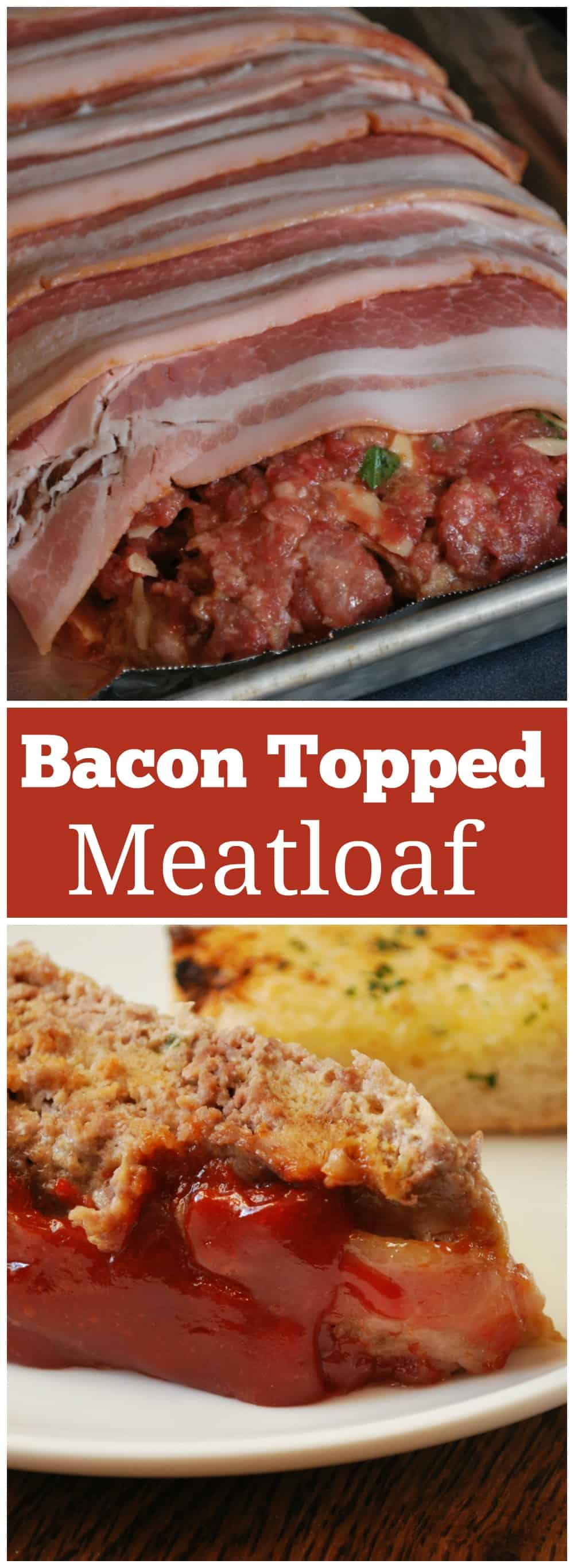 Bacon Wrapped Meatloaf - moist and tender meatloaf wrappd in bacon and topped with a tangy ketchup-based sauce.
