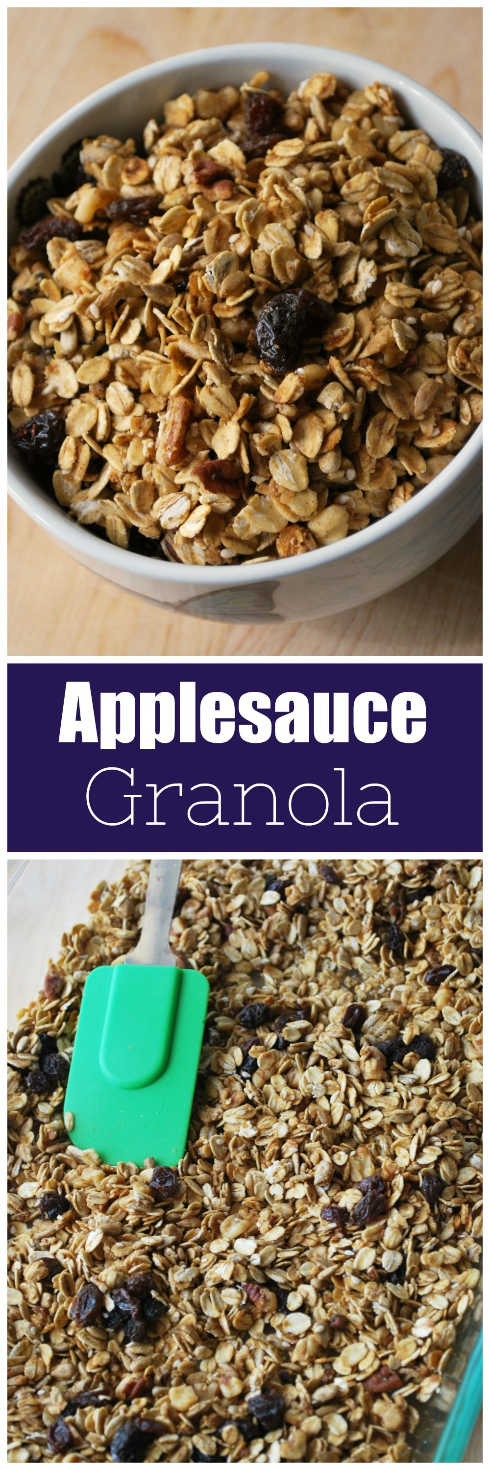 Applesauce Granola - healthy crunchy granola made with no oil! Oats, nuts, seeds, and raisins make the perfect easy breakfast.