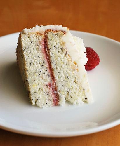 Lemon Poppy Seed Cake with Raspberry Curd Filling - Fake Ginger