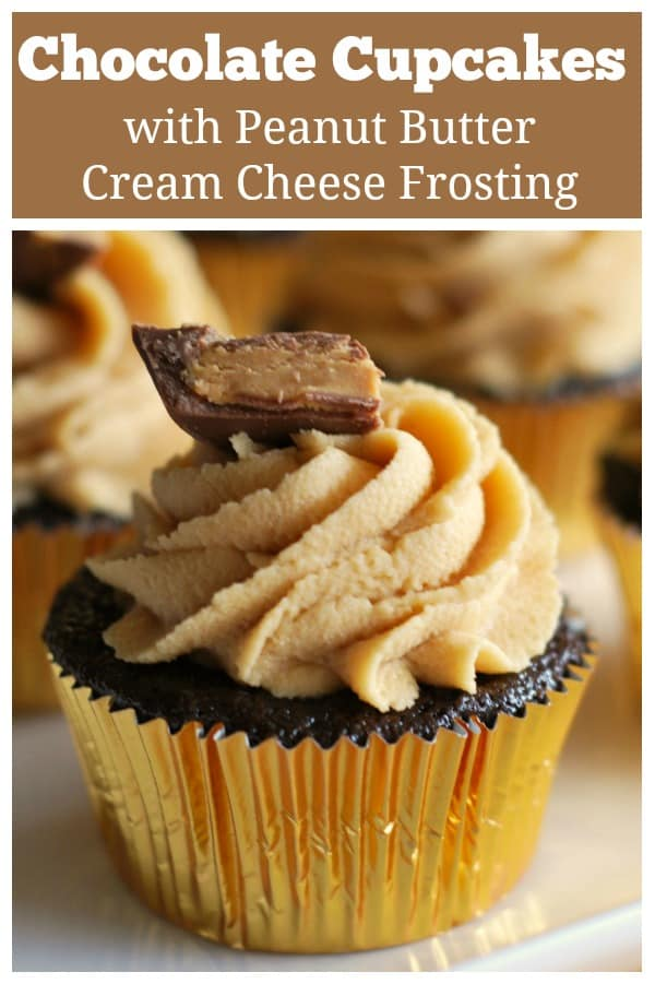 Chocolate Cupcakes with Peanut Butter Frosting - light and fluffy chocolate cupcakes topped with peanut butter cream cheese frosting. Like a Reese's cup as a cupcake!