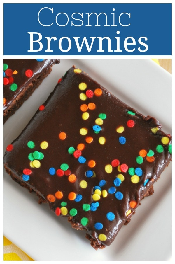 Homemade Cosmic Brownies - Little Debbie copycat recipe! Fudgy brownies topped with rich chocolate ganache and sprinkles.