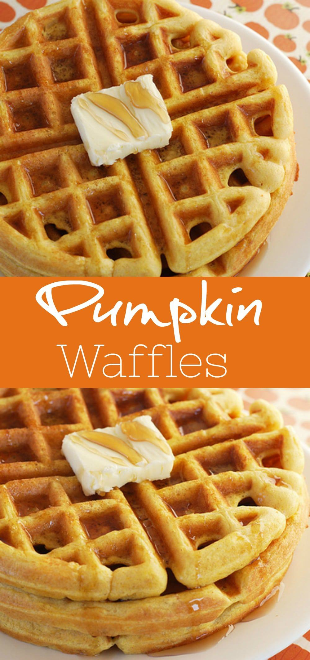 Pumpkin Waffles - the perfect fall breakfast! It starts with a pancake mix so it's easy, fast, and delicious!
