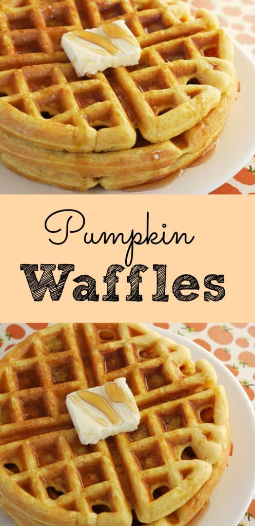 Pumpkin Waffles! The perfect waffles for fall and winter! These are so yummy.