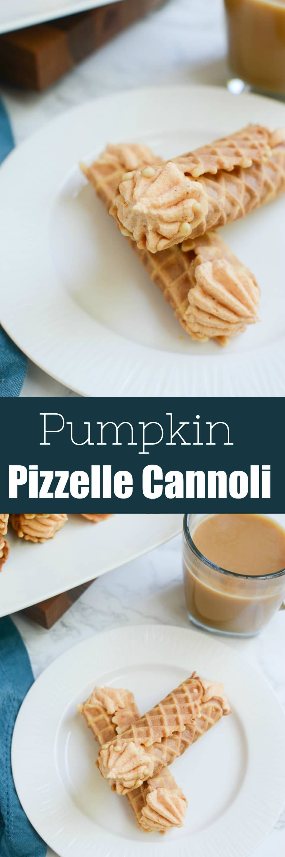 Pumpkin Pizzelle Cannoli - a twist on the classic cannoli! Pizzelle cookies with a sweetened pumpkin ricotta filling!