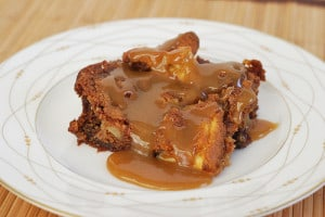 Sticky Spiked Apple Cake with Brown Sugar Sauce