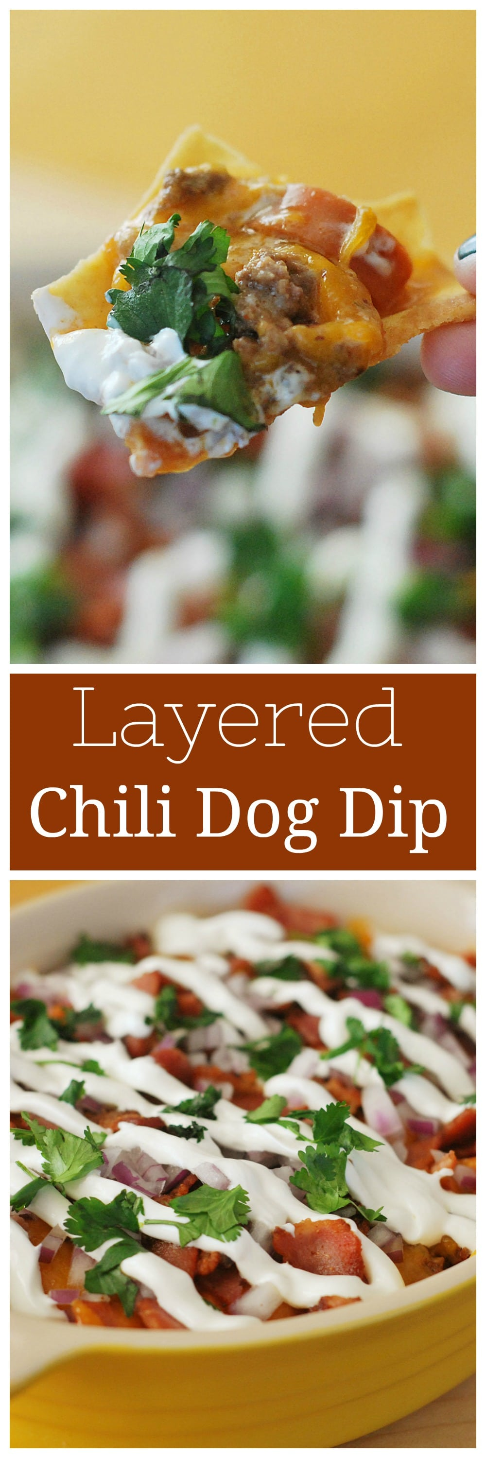 7 Layer Chili Cheese Dog Dip - perfect for football season! Layers of chili, hot dogs, bacon, cheese, sour cream, red onion, and cilantro - it's so delicious!