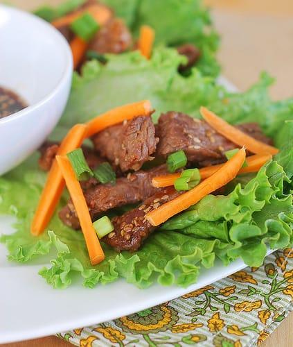 Sesame Beef Lettuce Wraps - Fake Ginger