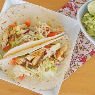 Fish Tacos with Guacamole and Cabbage Slaw