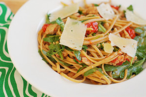 Sausage, Tomato, and Arugula Linguine
