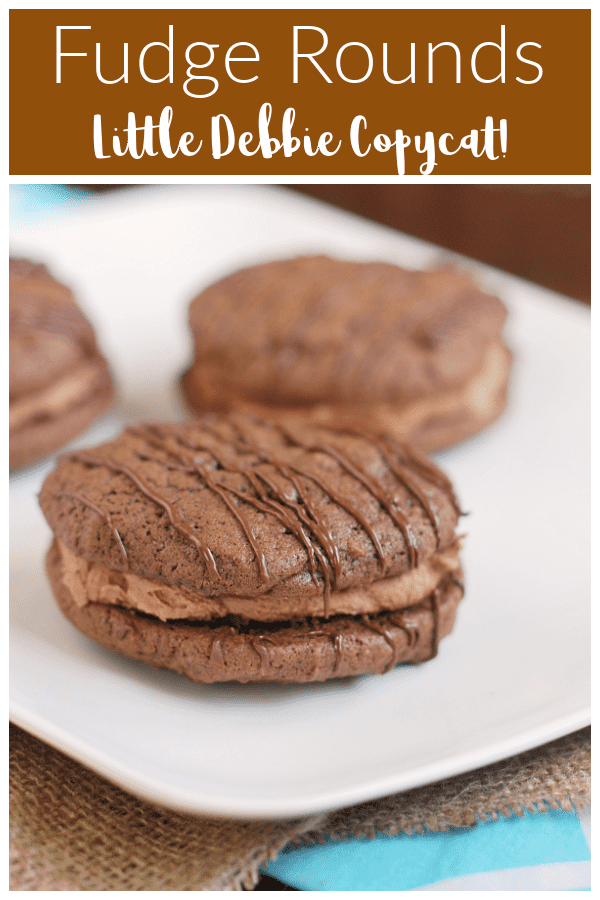 Fudge Rounds - a homemade copycat recipe of the classic Little Debbie treat! Soft chocolate cookies with chocolate buttercream and a chocolate drizzle.