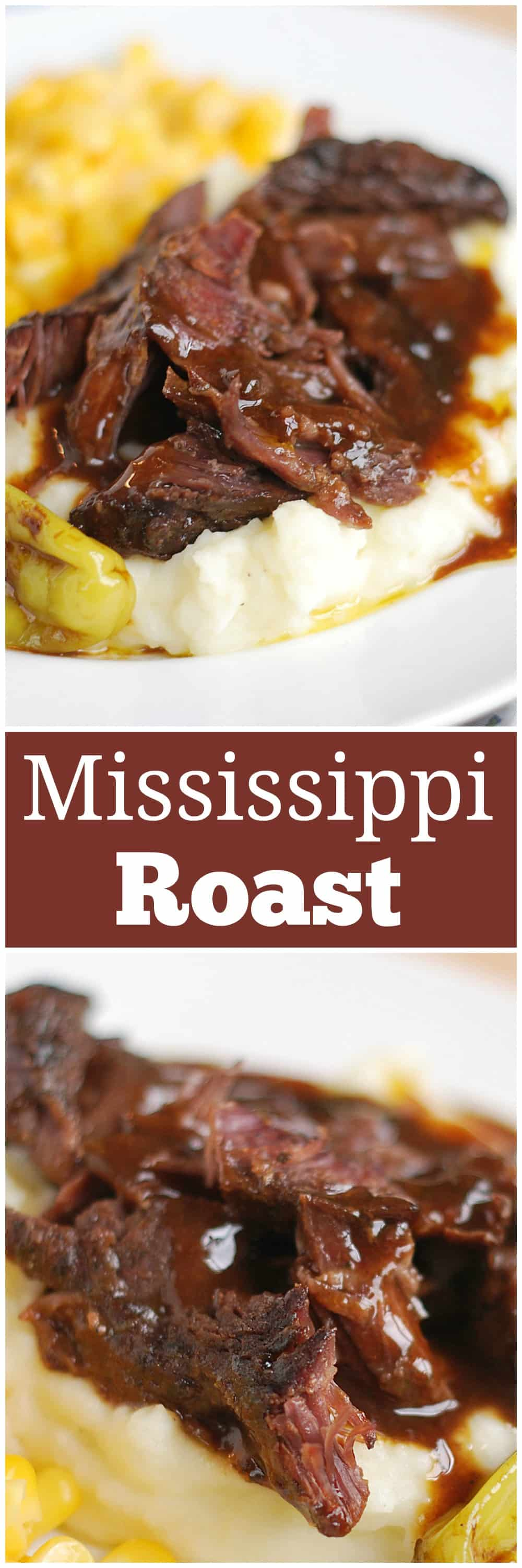 Slow Cooker Mississippi Roast - only easy 5 ingredients for this delicious, kid-friendly, crockpot meal! My kids love when I serve this over mashed potatoes.