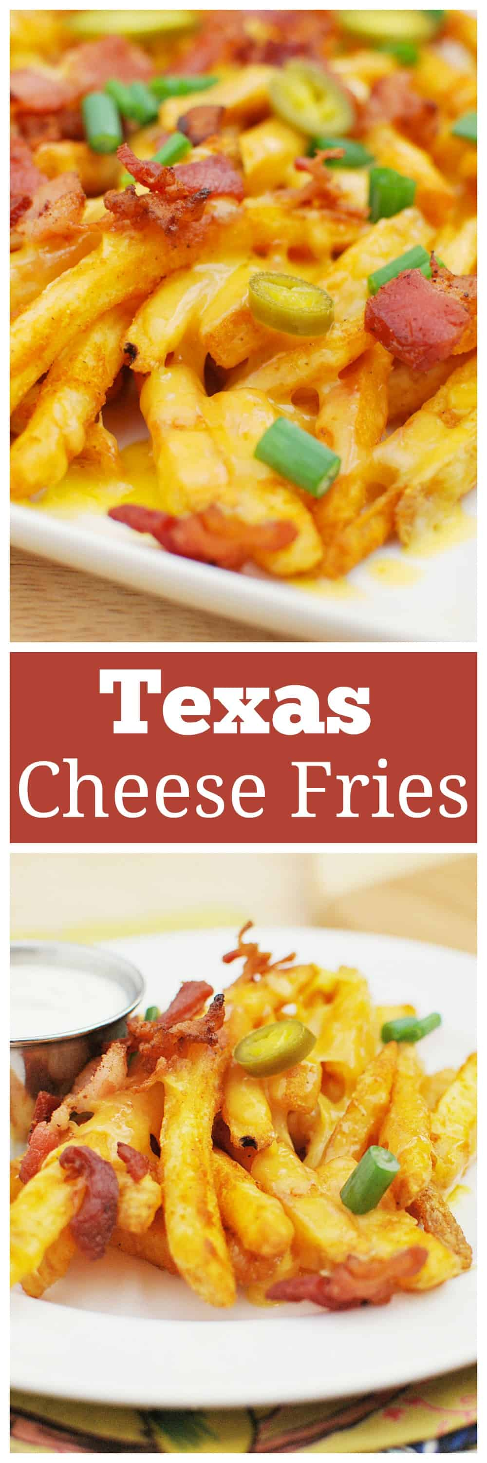 Texas Cheese Fries - seasoned fries topped with cheddar cheese, crispy bacon, green onions, and jalapenos! With a side of ranch! These are perfect for a party or a football game.