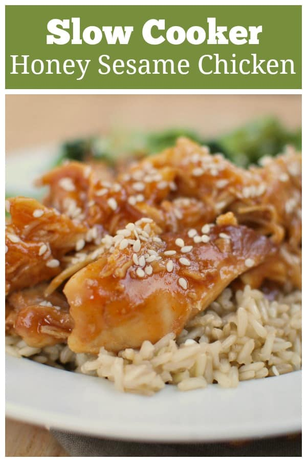 Slow Cooker Honey Sesame Chicken - Chinese takeout inspired chicken in a sweet and spicy honey sesame sauce. Cooked in just 4 hours in the slow cooker.