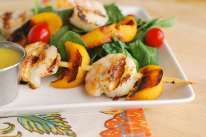 Jalapeno Peach Shrimp Skewers