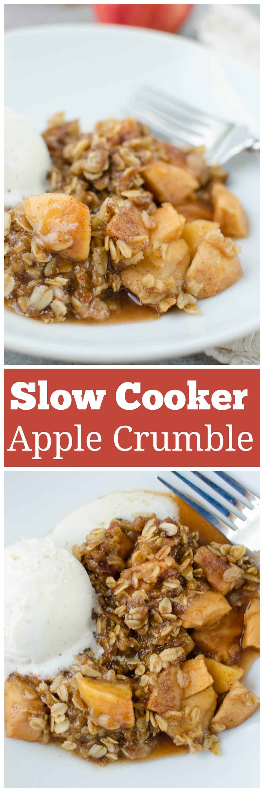 Crockpot Caramel Apple Crumble - delicious fall dessert recipe! Cinnamon apples topped with a crumbly oat mixture - and it's made in the slow cooker!