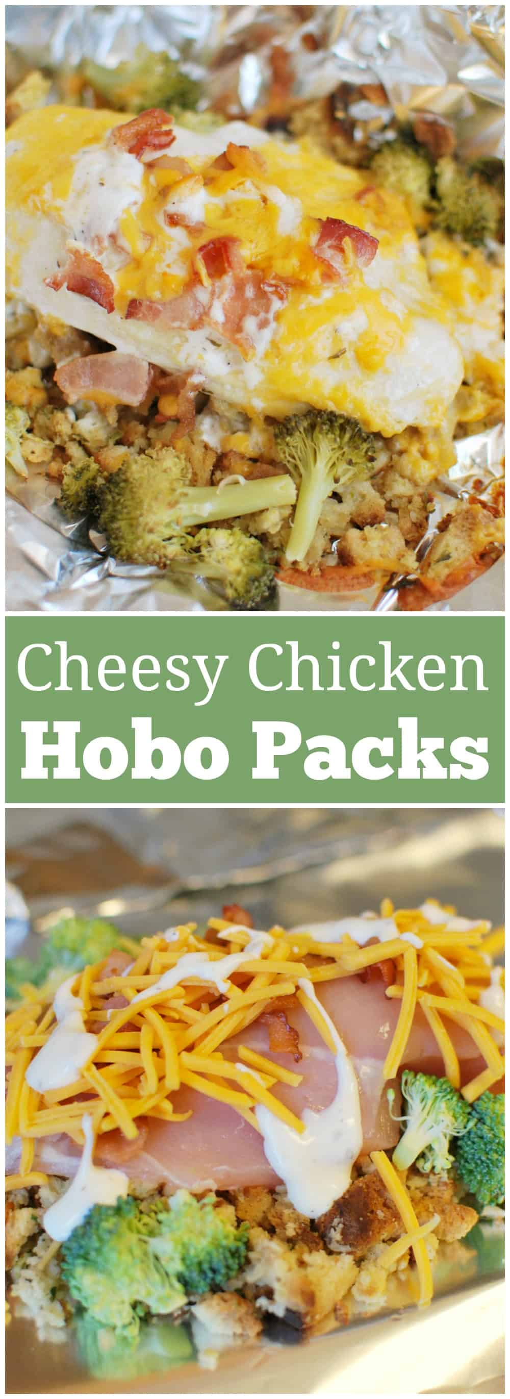 Cheesy Chicken Hobo Packets - stuffing, chicken, broccoli, bacon, and cheese all layered and cooked in foil packets. They can be cooked in the oven or on the grill. Easiest dinner ever!