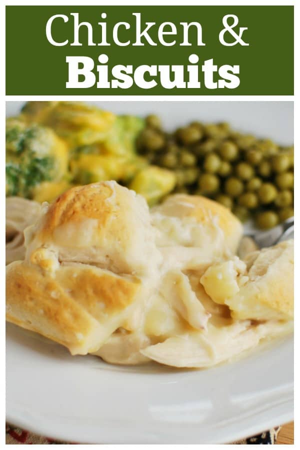 Chicken and Biscuits - only 5 ingredients! Chicken and gravy topped with refrigerated biscuits and baked until bubbly and golden. This is a family favorite!