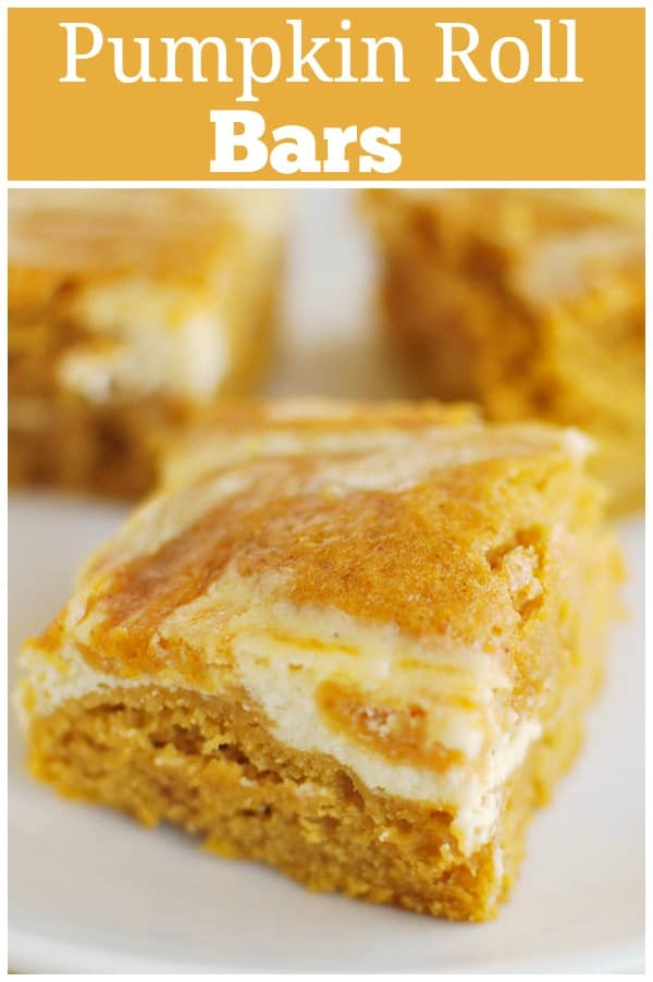 Pumpkin Roll Bars - everything you love about a pumpkin roll without all the work! Pumpkin cake with cream cheese swirl!