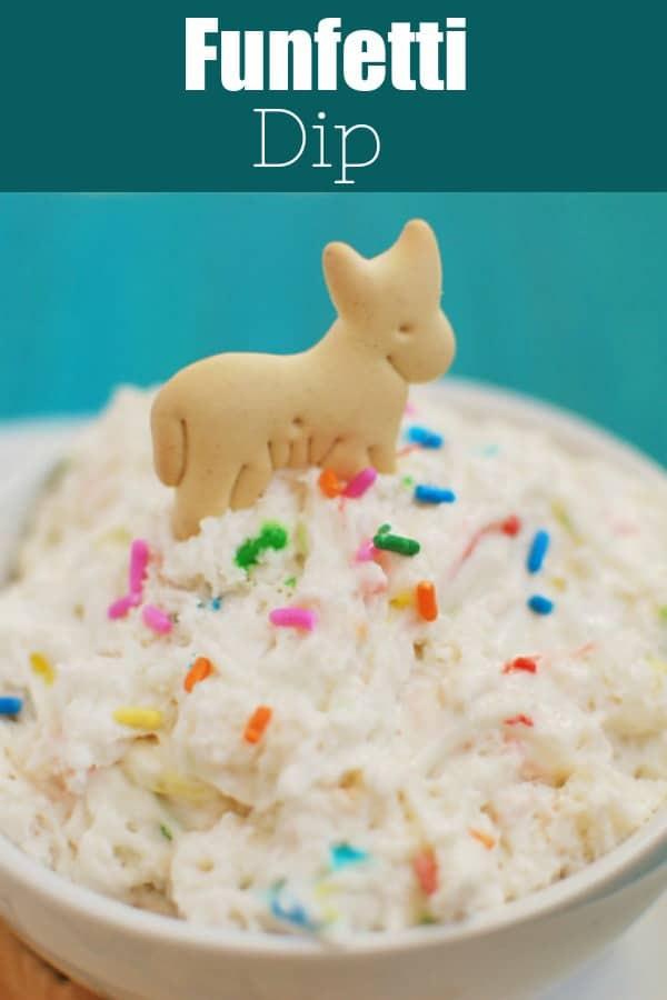Funfetti Dip - a healthy no-bake treat that takes just like cake batter! Only 3 ingredients and perfect for dipping fruit, animal crackers, or graham crackers!