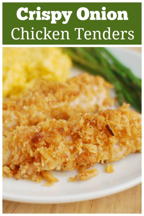 Crispy Onion Chicken Tenders - delicious baked chicken tenders coated in crispy onions. An easy 30 minute meal the whole family will love!