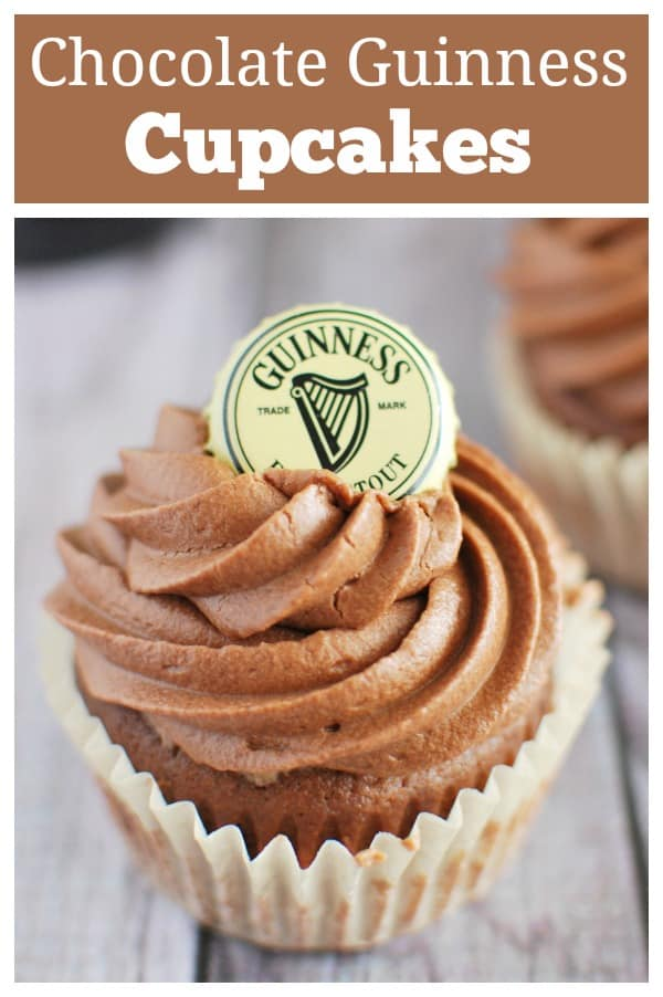 Chocolate Stout Cupcakes - chocolate cupcakes made with Guinness and topped with a dreamy chocolate buttercream frosting. You have to make these for St. Patrick's Day!