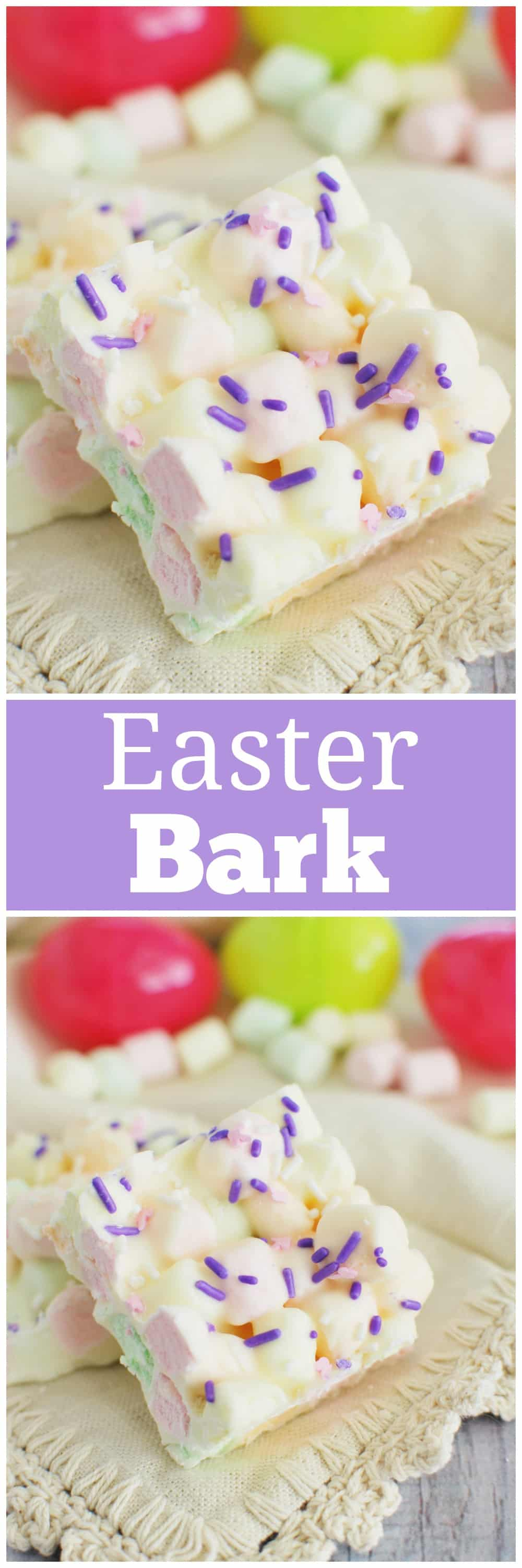 Easter Marshmallow Bark - the cutest Easter treat! Pastel marshmallows coated in white chocolate and topped with sprinkles. No bake and takes about 10 minutes to make!