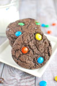Chocolate M&Ms Cake Mix Cookies