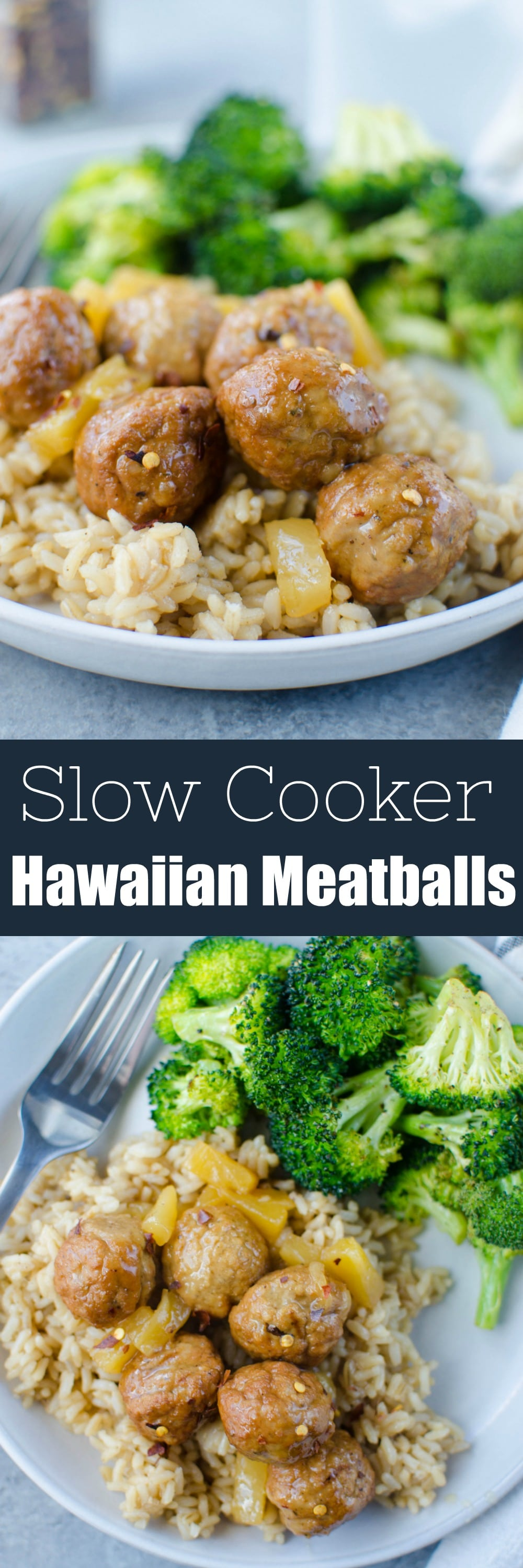 Slow Cooker Hawaiian Meatballs - easy weeknight dinner recipe! Meatballs in a sweet and sour pineapple sauce. Kid-friendly and made in the crockpot!