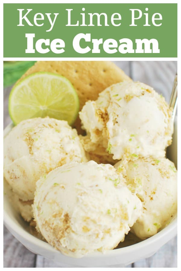 Key Lime Pie Ice Cream - easy homemade ice cream recipe made with key lime juice, zest, and chopped graham crackers. Everything you love about key lime pie in an ice cream!