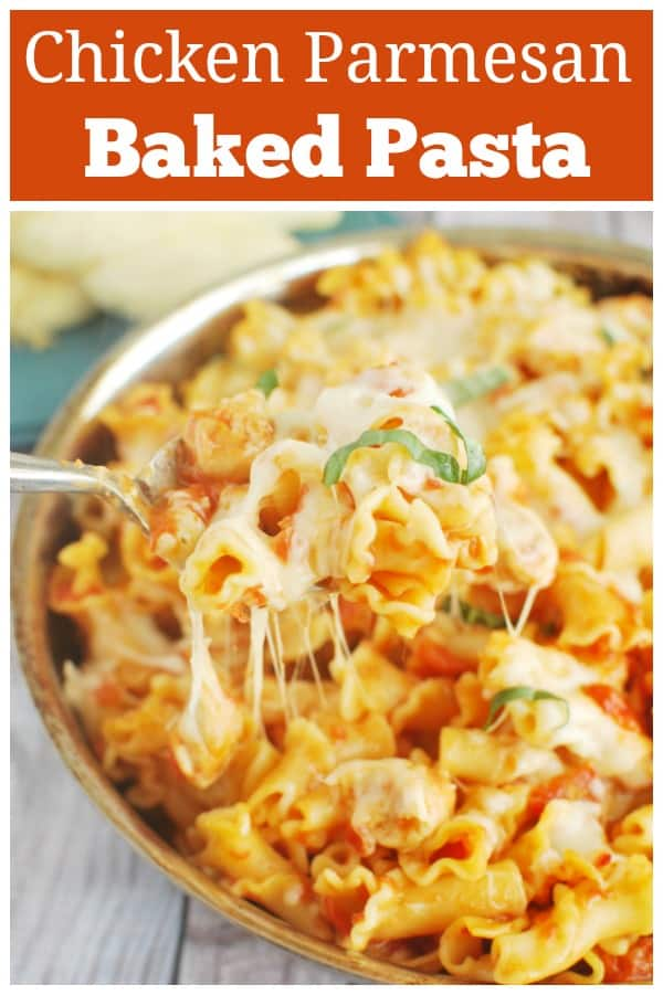 Chicken Parmesan Baked Pasta - easy baked pasta with chicken, tomato sauce, mozzarella, and Parmesan. My kids love this!