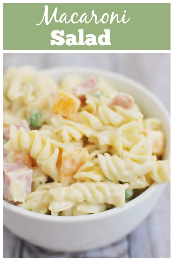 Macaroni Salad - pasta, cheddar cheese, diced ham, and peas in a creamy dressing. A classic side dish that is always a hit!