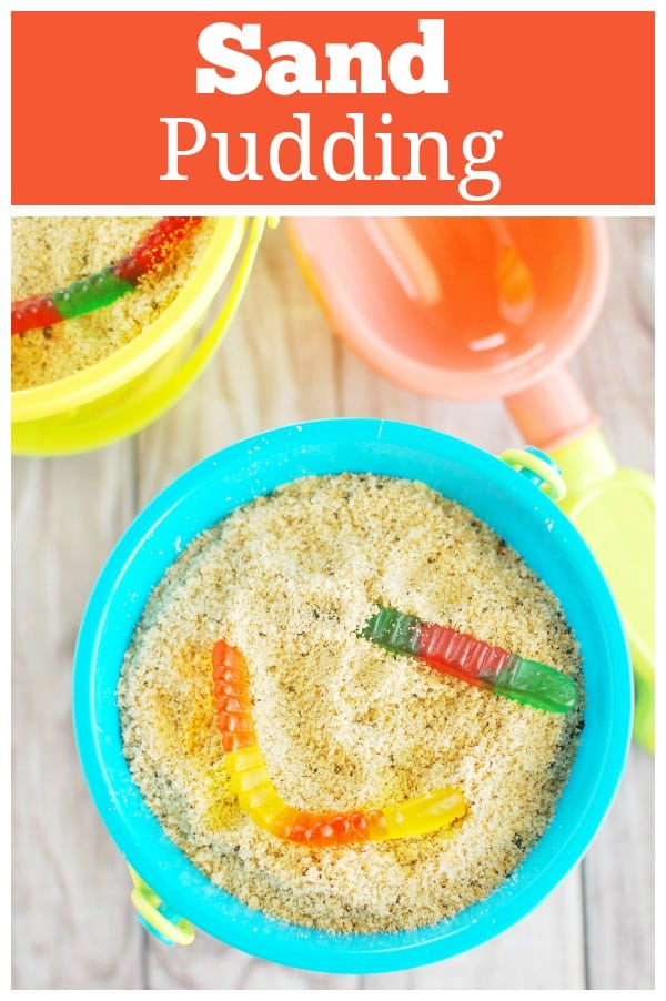 Sand Pudding - the cutest no bake dessert! Layers of pudding and cookie crumble sand and topped with gummy worms. Perfect for a birthday party!