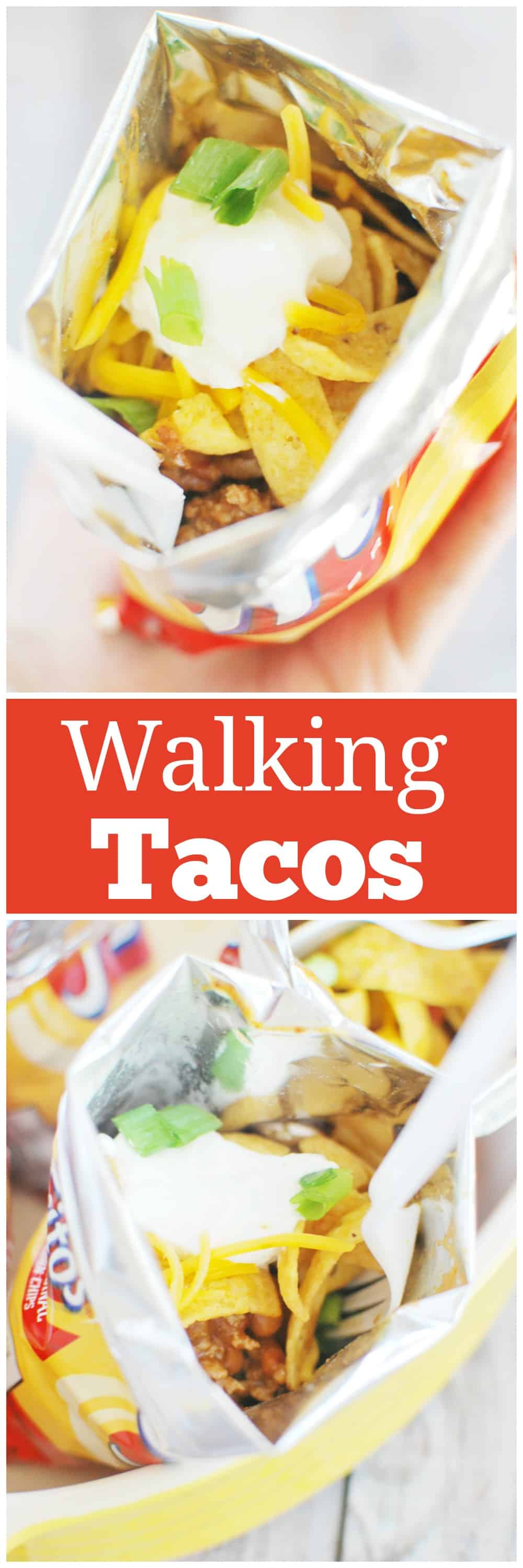 Walking Tacos - Fritos, taco meat, beans, cheese, and sour cream layered in the chip bag for an easy dinner idea! Kids love these!