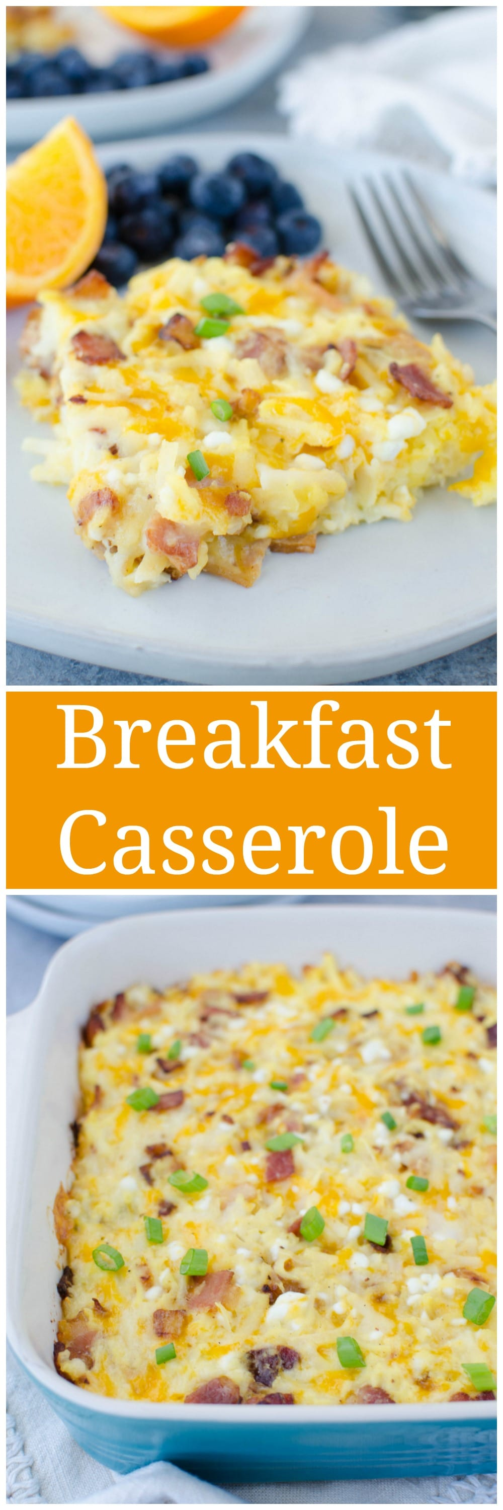 Amish Breakfast Casserole - bacon, hashbrowns, 2 cheeses, and eggs! An easy, hearty weekend breakfast or meal prep it to have all week long.