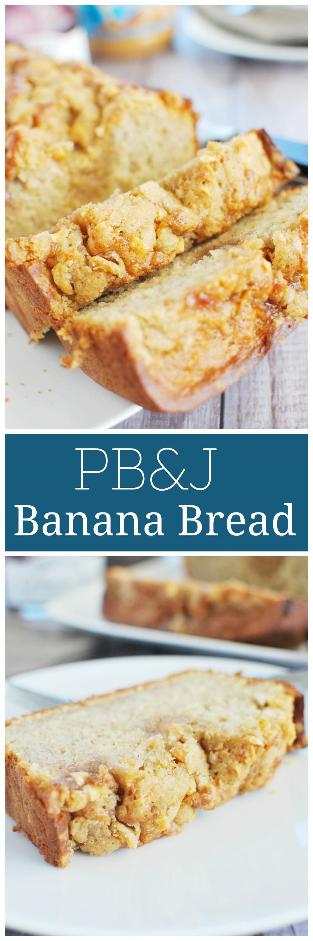 PB&J Banana Bread  - peanut butter banana bread with a drizzle of jam and topped with a streusel topping and chopped peanuts. Everything you love about pb&j in banana bread!