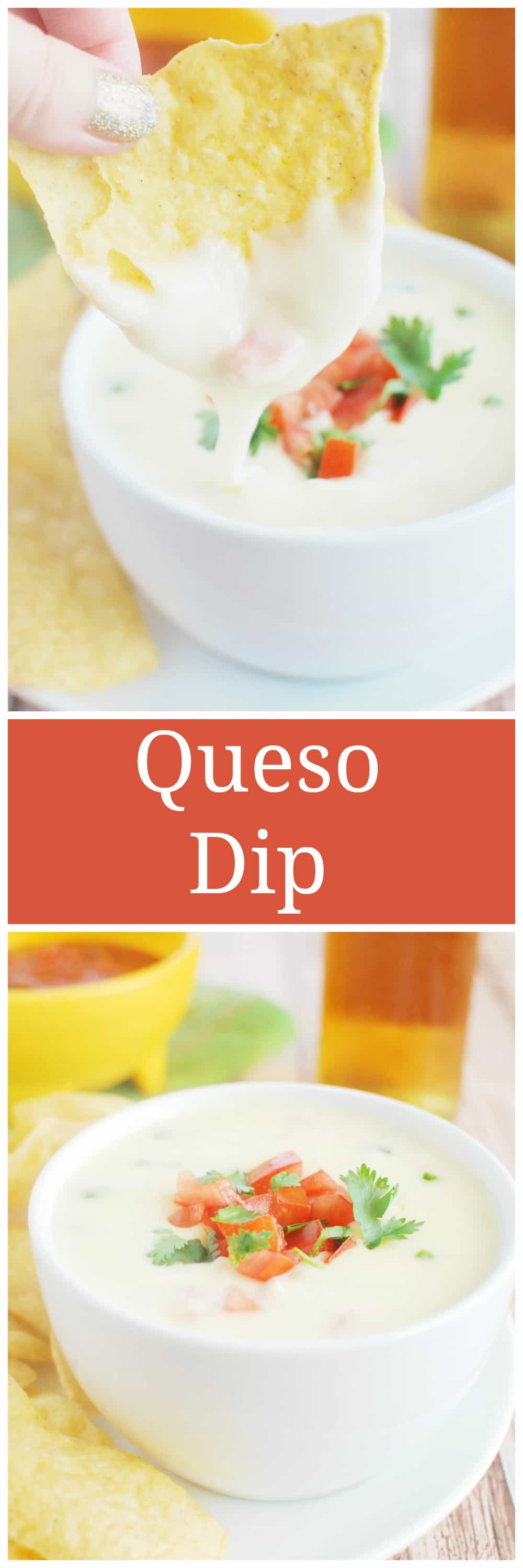 Restaurant Style Queso Dip - just like your favorite Mexican restaurant! Spicy melted cheese - perfect for dipping tortilla chips or using as a topping for tacos or burritos!