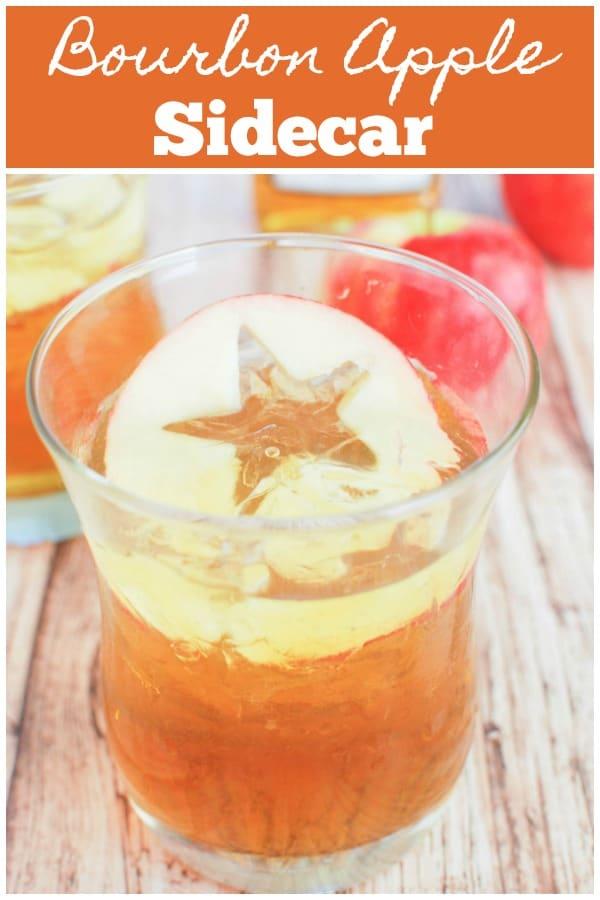 Bourbon Apple Sidecar - your new favorite fall cocktail! Bourbon, apple juice, orange liqueur, and a splash of fresh lemon juice.