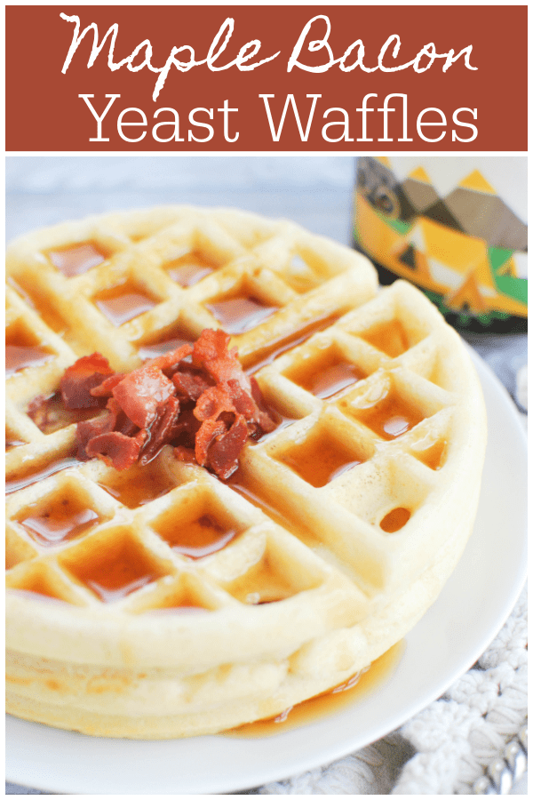 Maple Bacon Yeast Waffles - light, crispy waffles full of maple syrup and crisp bacon. The batter sits overnight to develop the perfect texture and taste!