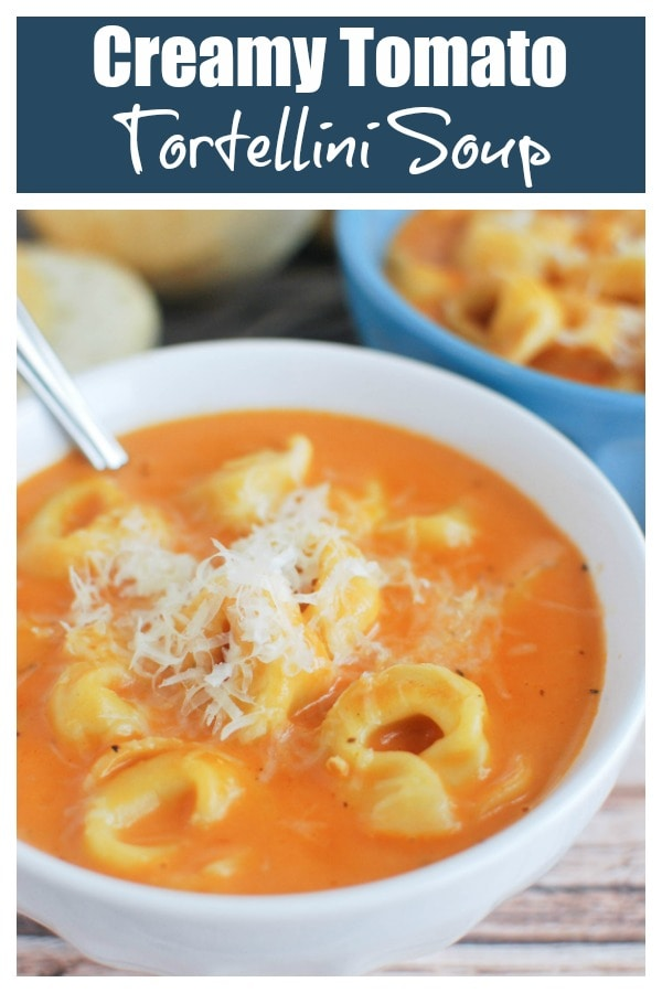 Creamy Tomato Tortellini Soup - delicious creamy tomato soup with cheese tortellini! Quick and easy, perfect for a weeknight meatless meal!