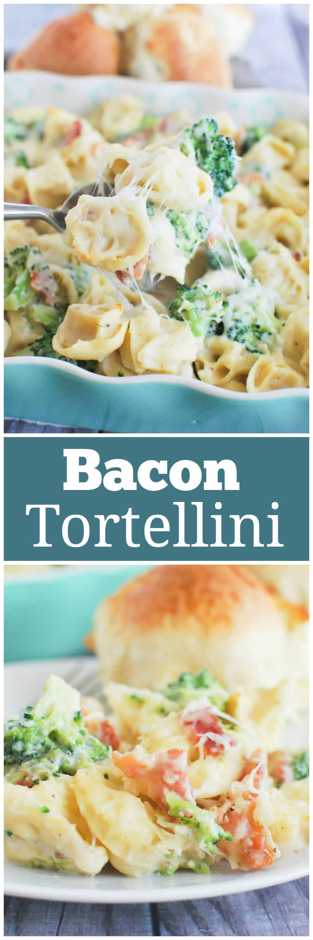 Bacon Tortellini Bake - delicious 30 minute meal! Cheese tortellini, bacon, and broccoli in a creamy cheese sauce! A favorite of kids and adults!