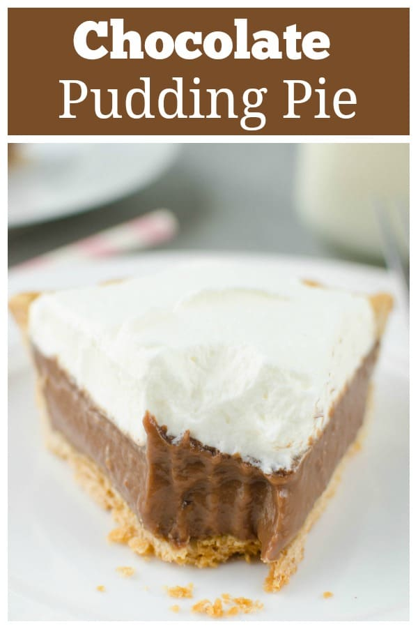 Chocolate Pudding Pie - creamy chocolate pudding pie topped with homemade whipped cream. Easy and delicious!