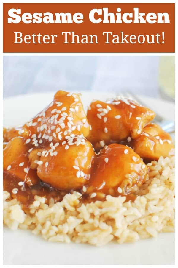 Sesame Chicken - your favorite Chinese takeout at home! Chicken in a sweet honey sesame sauce. Quick, easy, and uses simple ingredients!