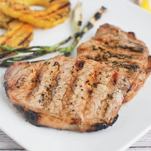 Grilled Ginger-Sesame Pork Chops with Pineapple and Scallions