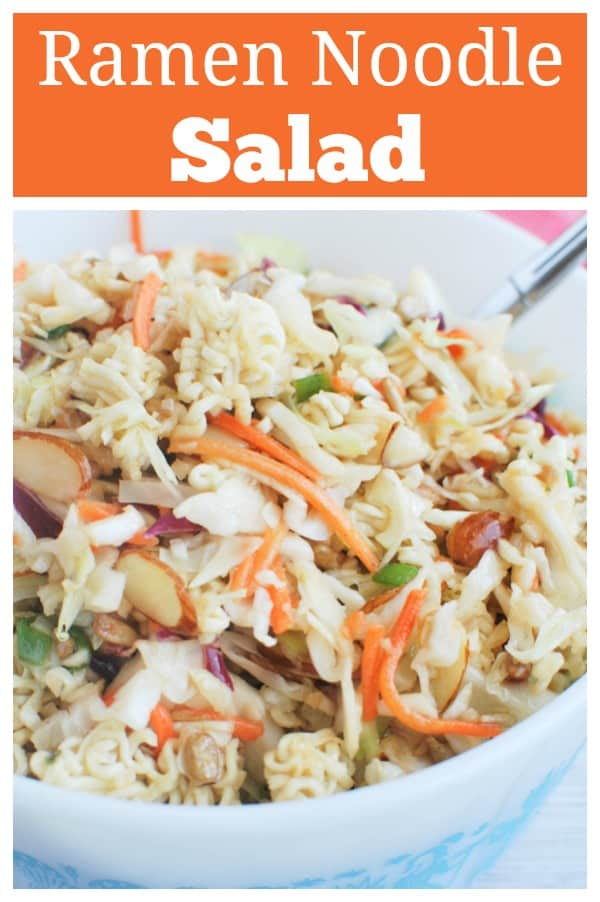 Ramen Noodle Salad - cole slaw mix, almonds, sunflower seeds, and ramen noodles in a sweet and tangy dressing. Perfect summer side dish for parties and barbecues!