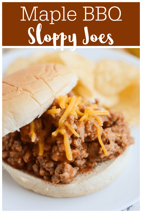 Maple BBQ Sloppy Joes - the most delicious turkey sloppy joes! The sauce has just a hint of sweetness and they are extra delicious with cheddar cheese on top.