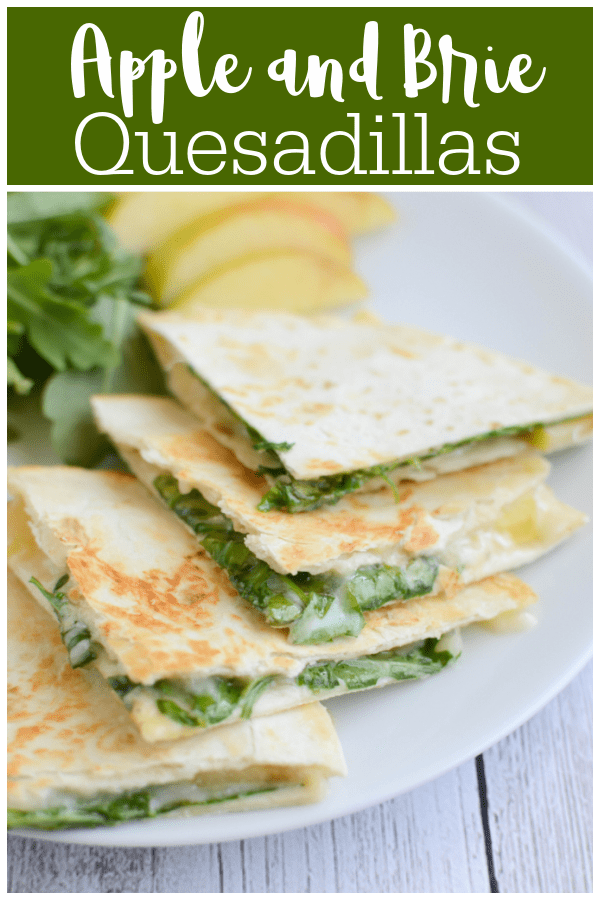 Apple, brie, and arugula quesadilla cut into quarters on a white plate with apple slices and arugula in the background