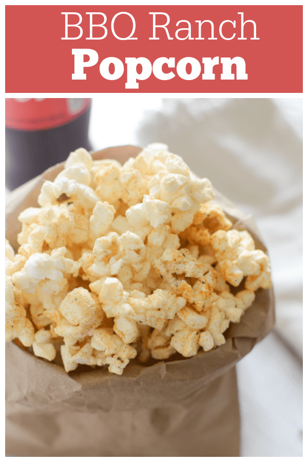 BBQ Ranch Popcorn - freshly popped popcorn coated in ranch dressing mix, brown sugar, and paprika! The perfect movie snack!