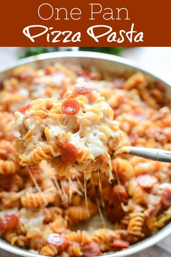 One Pan Pizza Pasta - pasta cooked with Italian sausage, tomato basil sauce, pepperoni, and lots of cheese. Easy weeknight dinner the whole family will love!