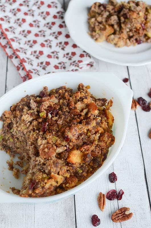 Sausage and Cranberry Cornbread Dressing - Fake Ginger